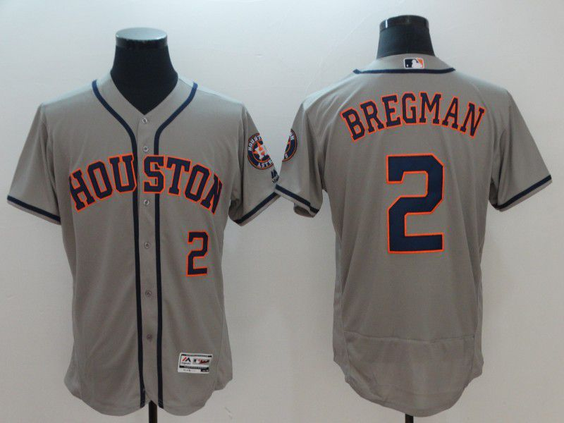 Men Houston Astros 2 Bregman Grey Elite MLB Jerseys