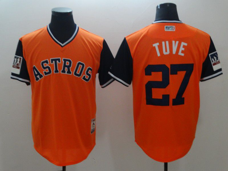 Men Houston Astros 27 Tuve Orange New Rush Limited MLB Jerseys