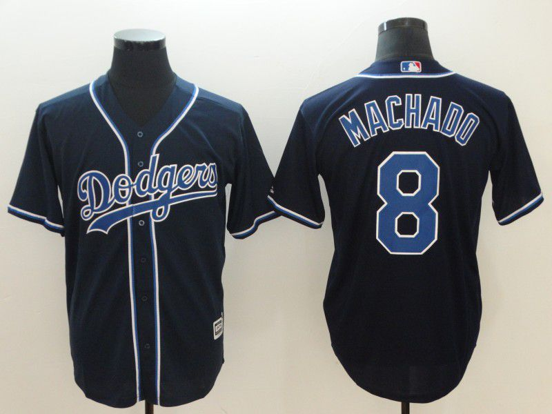 Men Los Angeles Dodgers 8 Machado Black Throwback MLB Jerseys