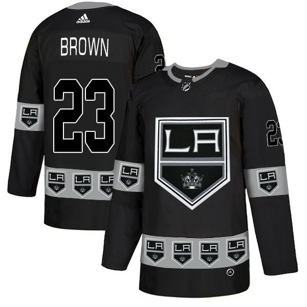 Men Los Angeles Kings 23 Brown Black Adidas Fashion NHL Jersey