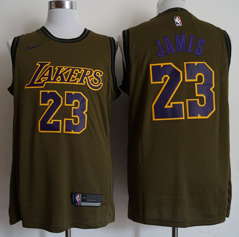 Men Los Angeles Lakers 23 James Military green Game Nike NBA Jerseys