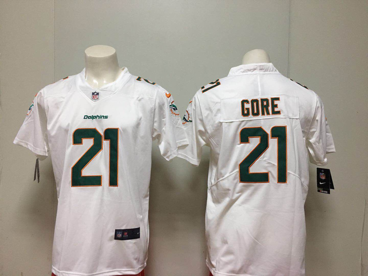 Men Miami Dolphins 21 Gore White Nike Vapor Untouchable Limited Playe NFL Jerseys