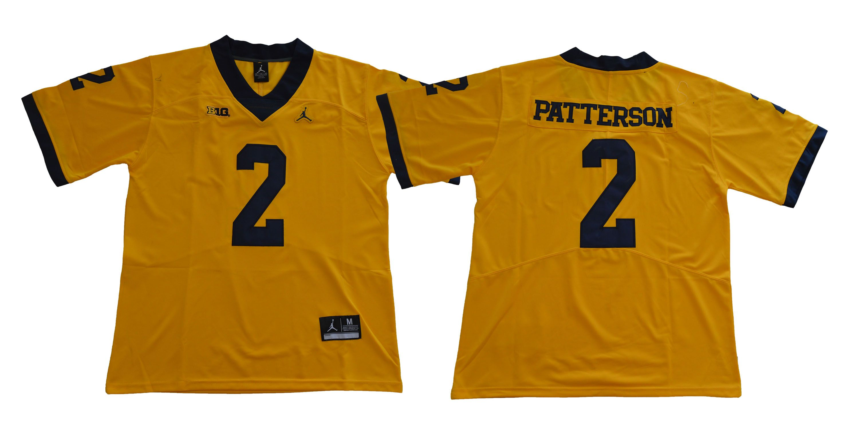 Men Michigan Wolverines 2 Patterson Yellow NCAA Jerseys