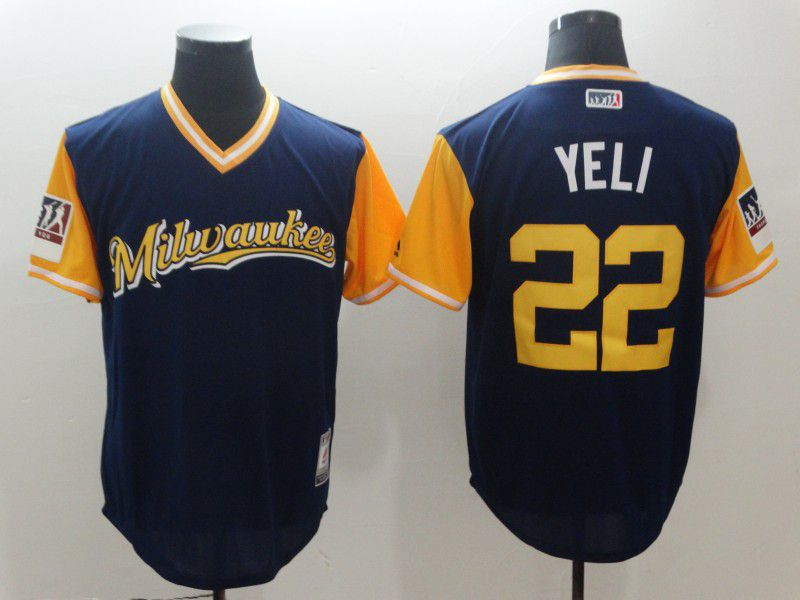 Men Milwaukee Brewers 22 Yeli Blue New Rush Limited MLB Jerseys