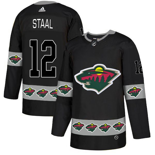 Men Minnesota Wild 12 Staal Black Adidas Fashion NHL Jersey