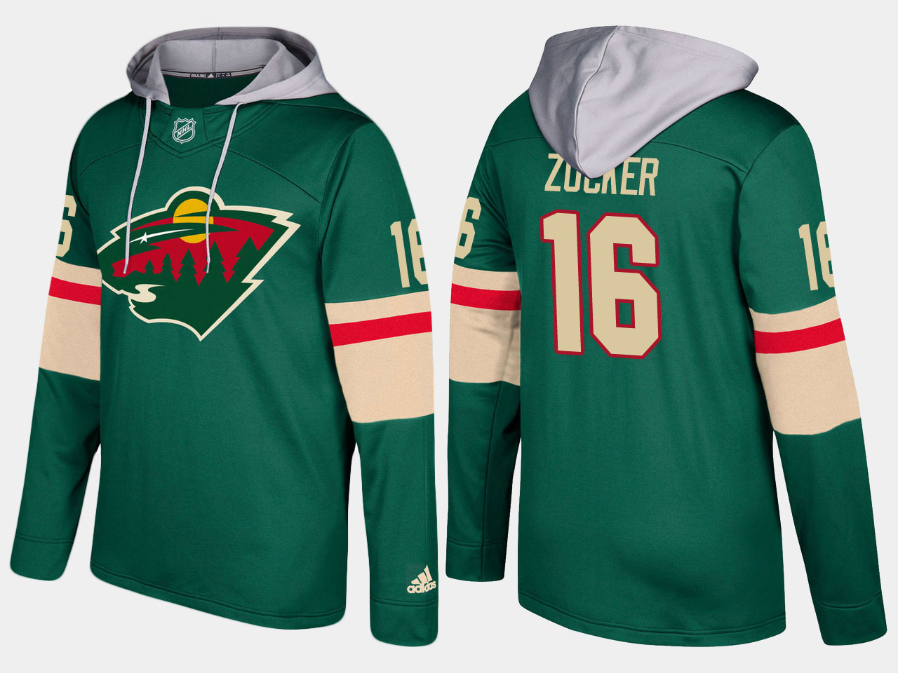 Men Minnesota wild 16 jason zucker green hoodie