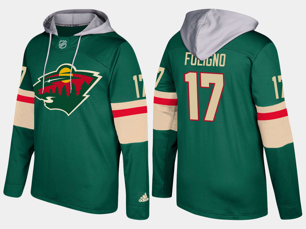 Men Minnesota wild 17 marcus foligno green hoodie