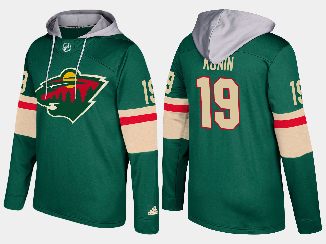 Men Minnesota wild 19 luke kunin green hoodie
