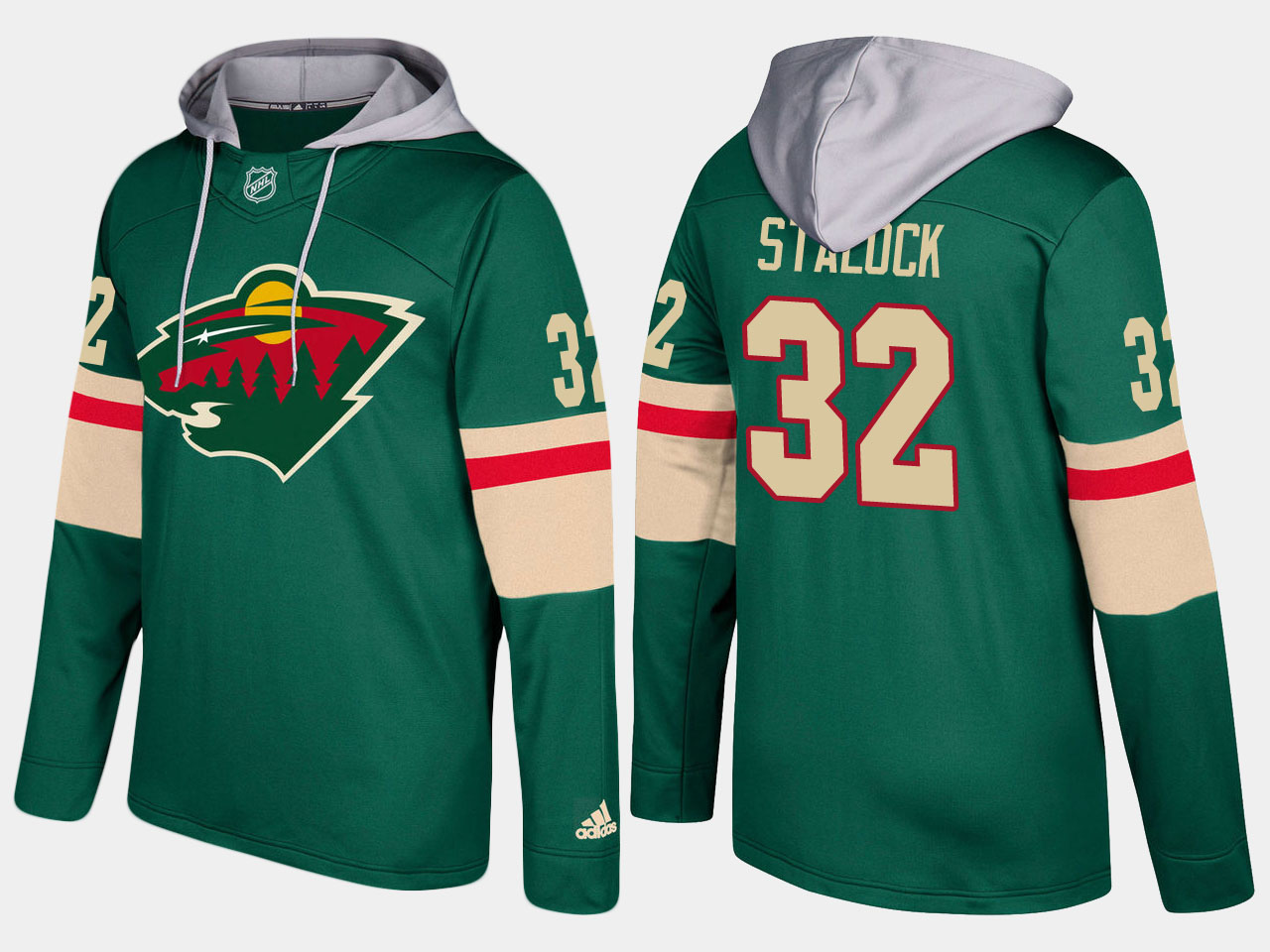 Men Minnesota wild 32 alex stalock green hoodie