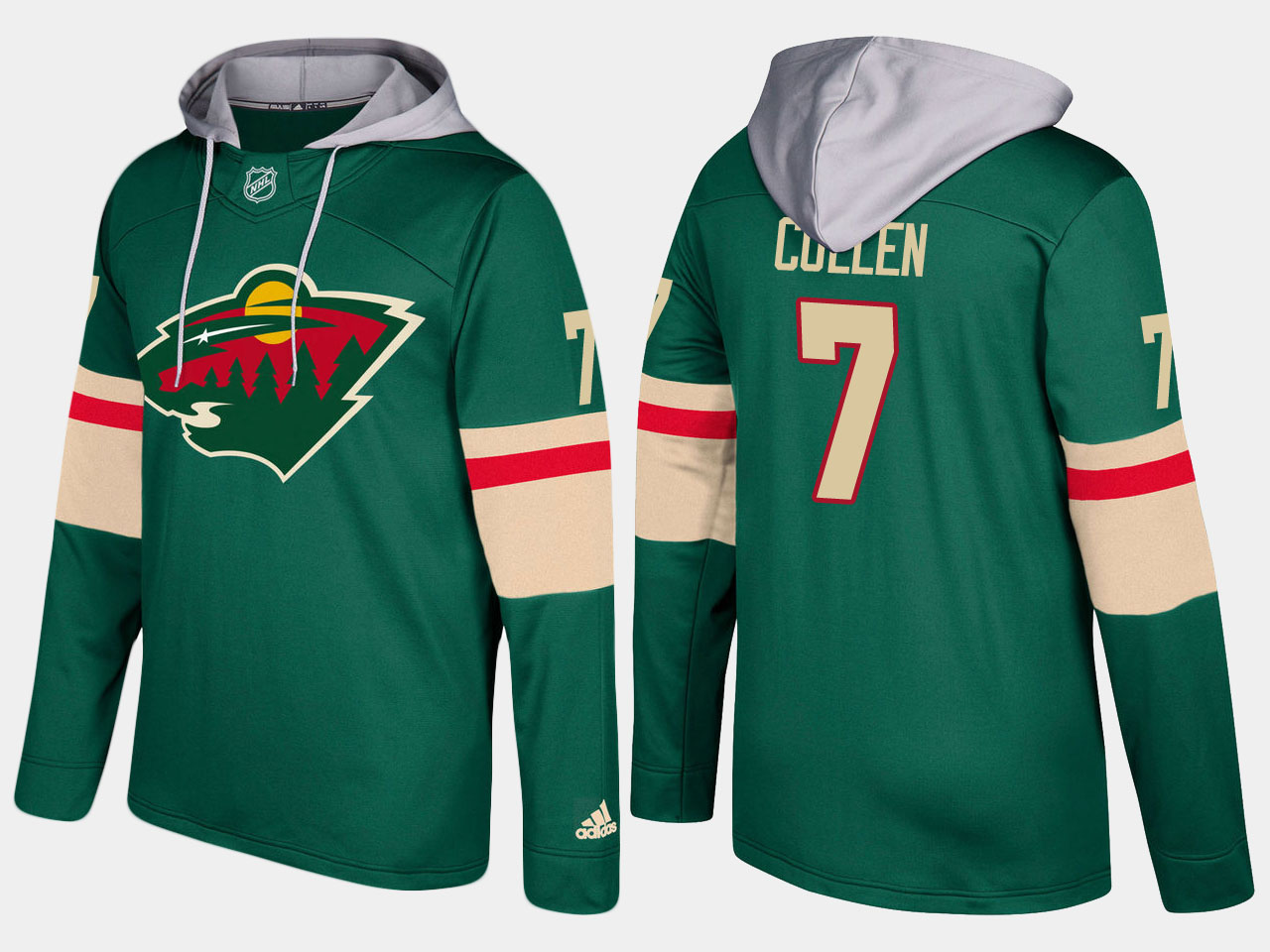 Men Minnesota wild 7 matt cullen green hoodie