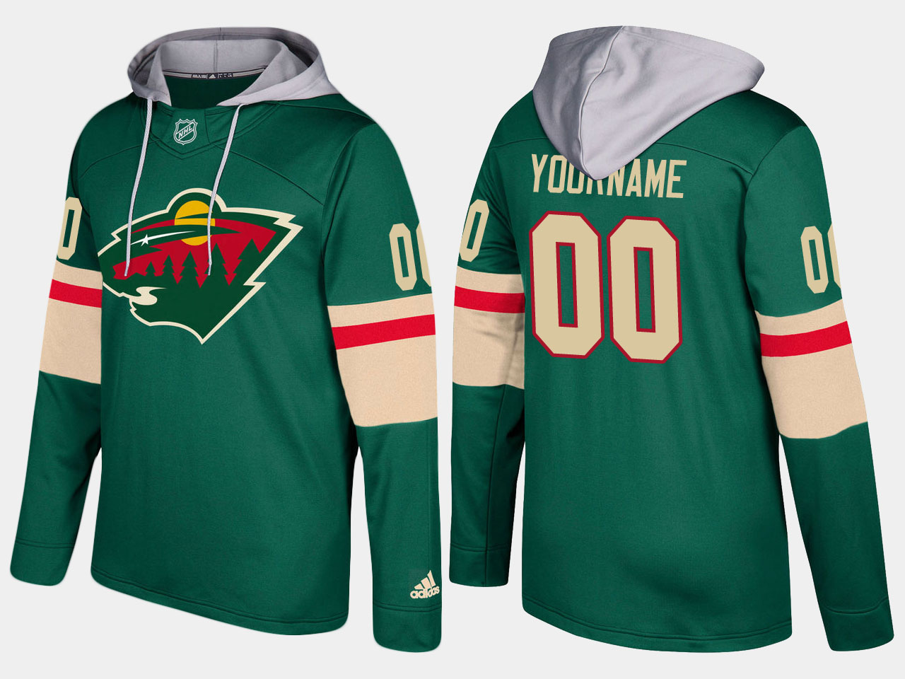 Men Minnesota wild customized green hoodie