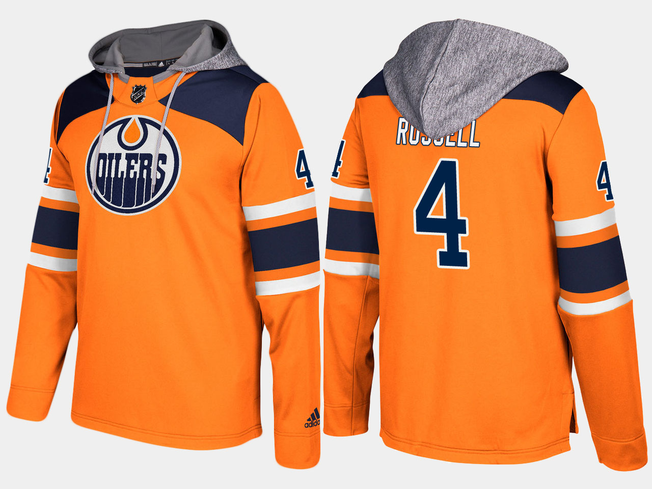 Men NHL Edmonton oilers 4 kris russell orange hoodie