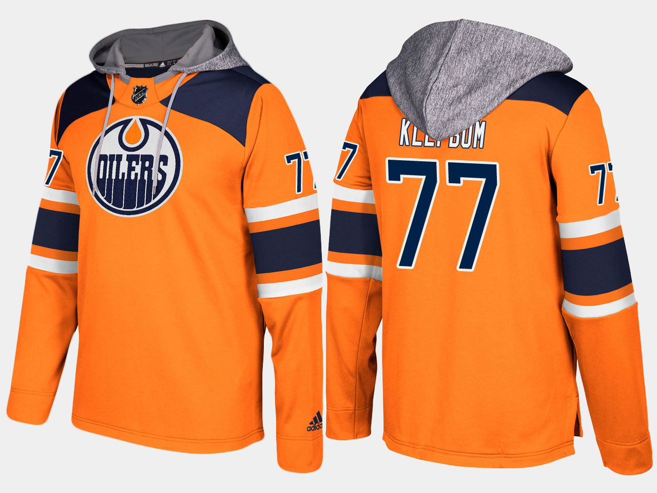 Men NHL Edmonton oilers 77 oscar klefbom orange hoodie