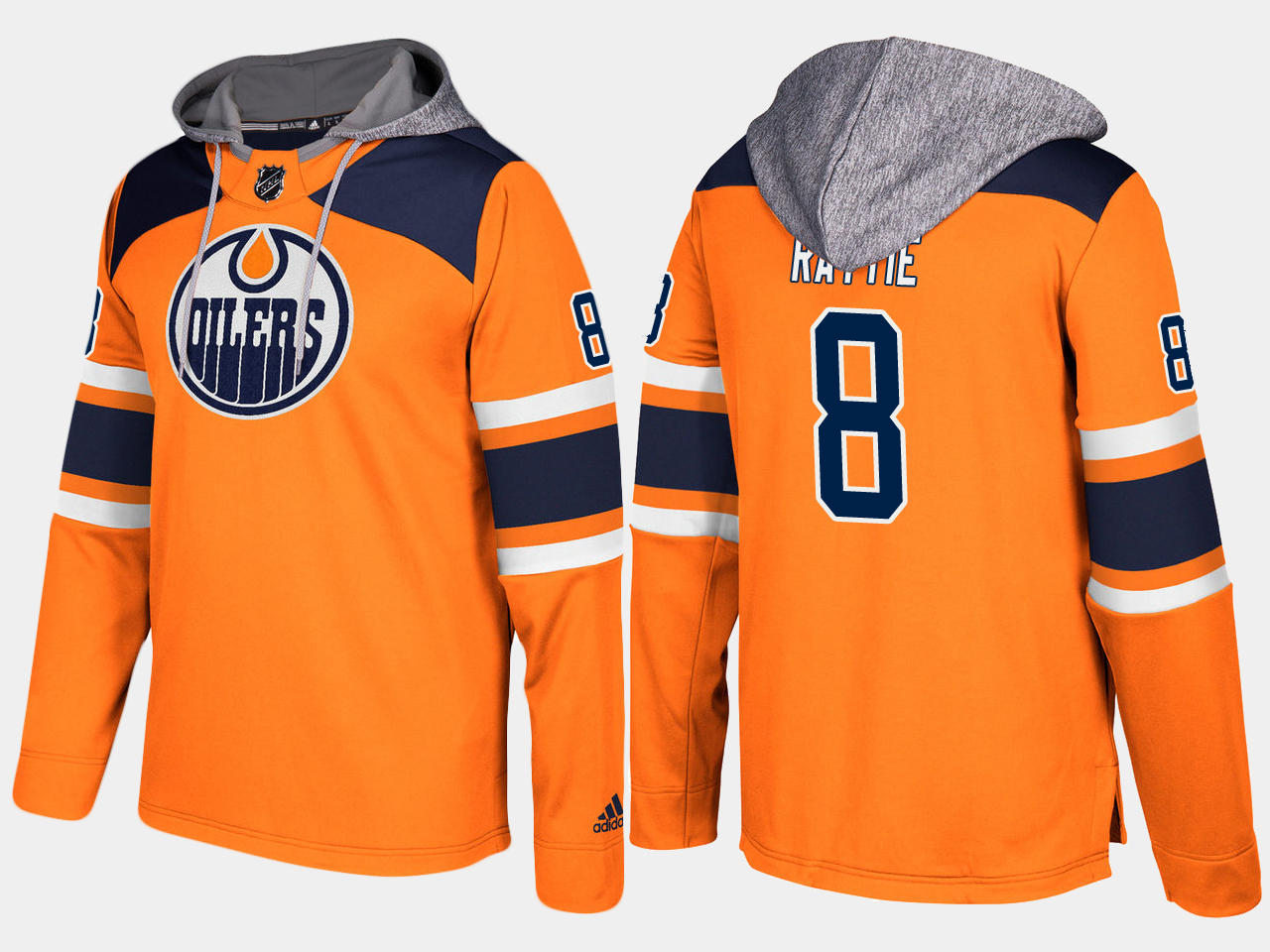 Men NHL Edmonton oilers 8 ty rattie orange hoodie