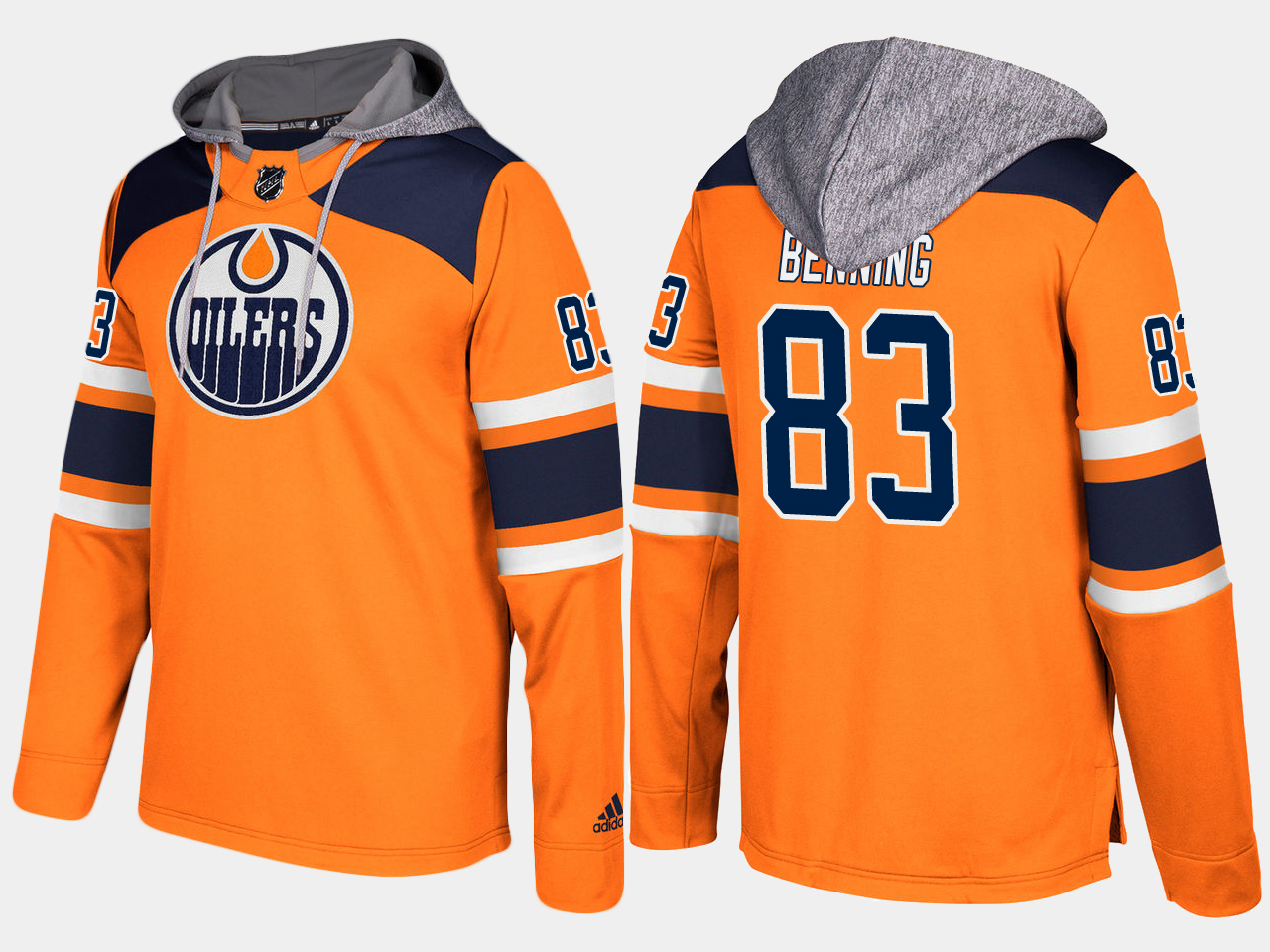 Men NHL Edmonton oilers 83 matthew benning orange hoodie