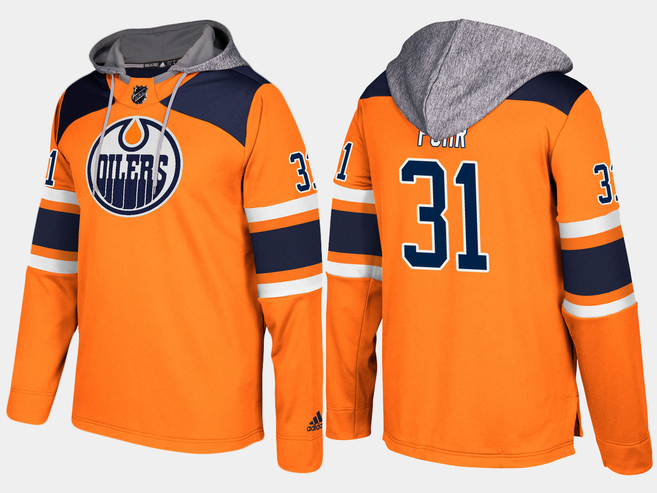 920b0f2904b Men NHL Edmonton oilers retired 31 grant fuhr orange hoodie