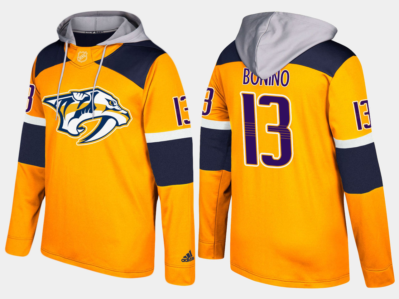 Men NHL Nashville predators 13 nick bonino yellow hoodie