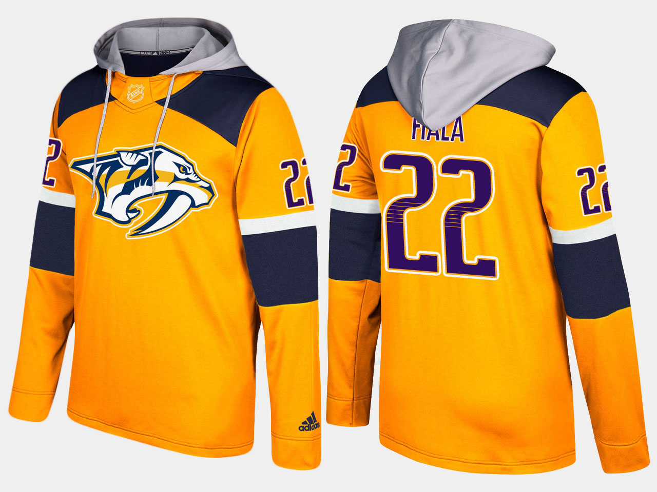 Men NHL Nashville predators 22 kevin fiala yellow hoodie