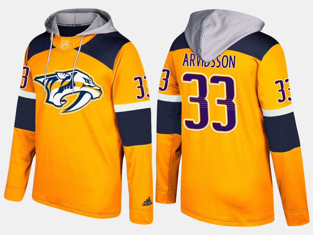 Men NHL Nashville predators 33 viktor arvidsson yellow hoodie