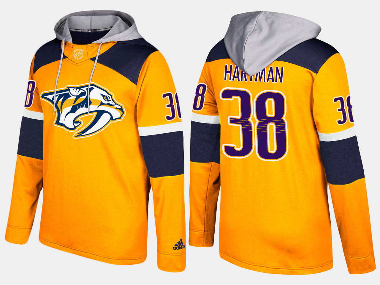 Men NHL Nashville predators 38 ryan hartman yellow hoodie