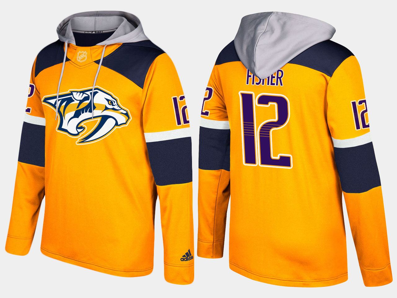 Men NHL Nashville predators retired 12 mike fisher yellow hoodie