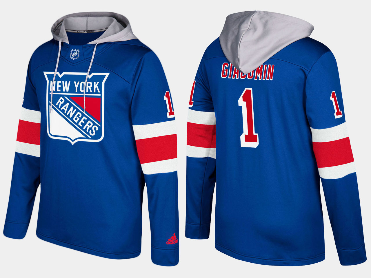 Men NHL New York rangers 1 retired eddie giacomin blue hoodie