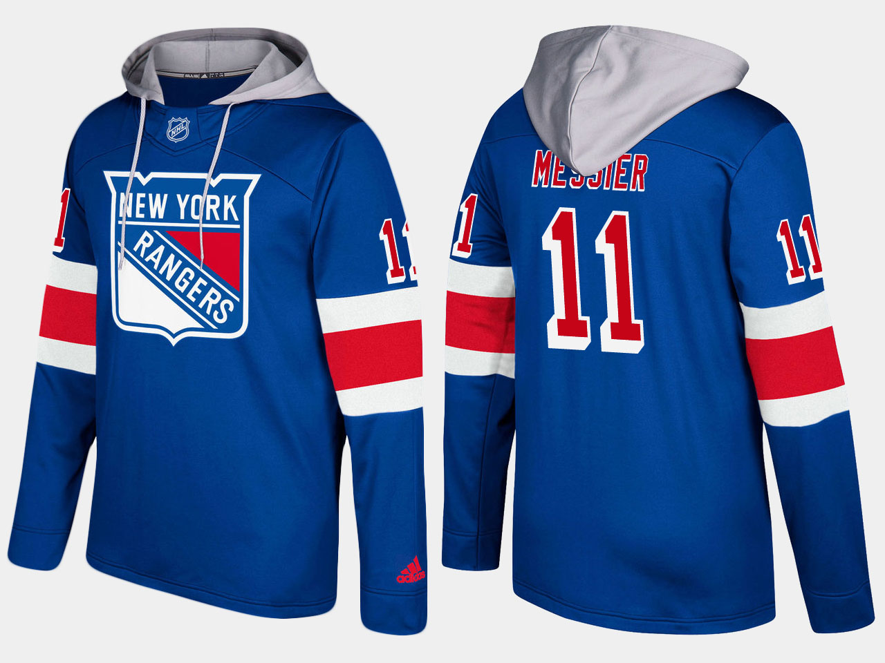 Men NHL New York rangers 11 retired mark messier blue hoodie