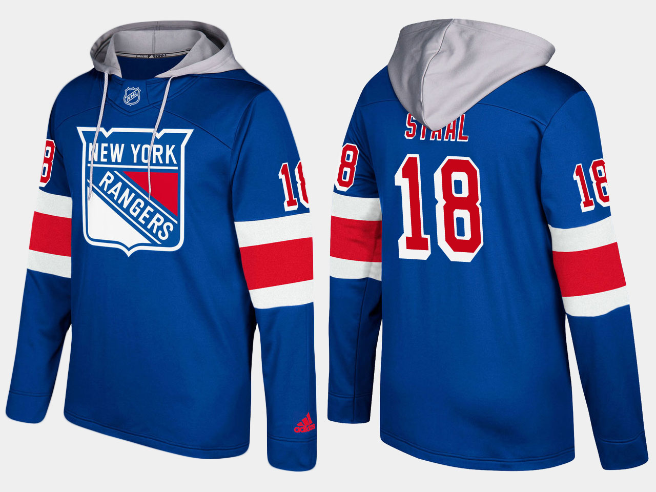 Men NHL New York rangers 18 marc staal blue hoodie