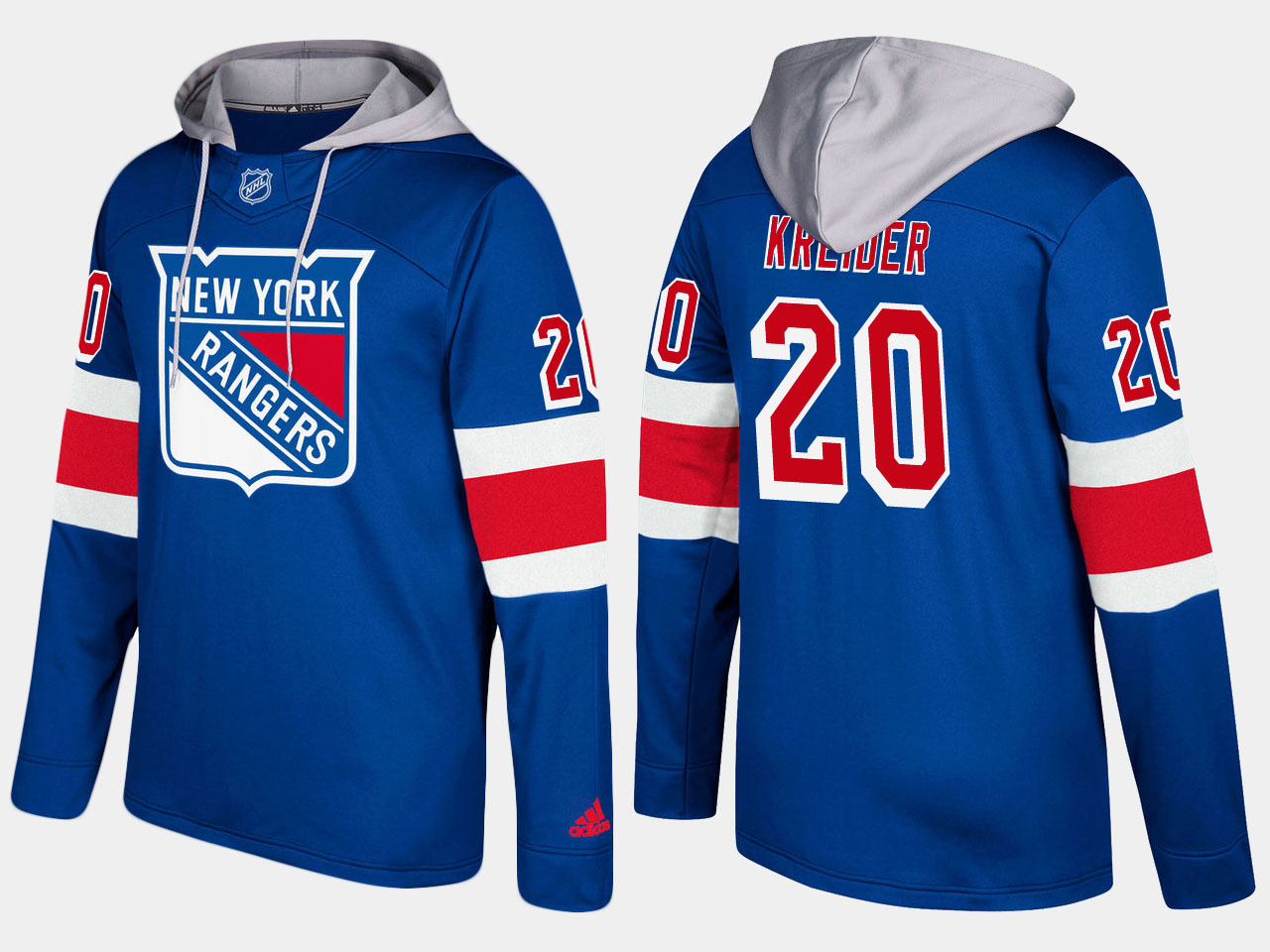 Men NHL New York rangers 20 chris kreider blue hoodie