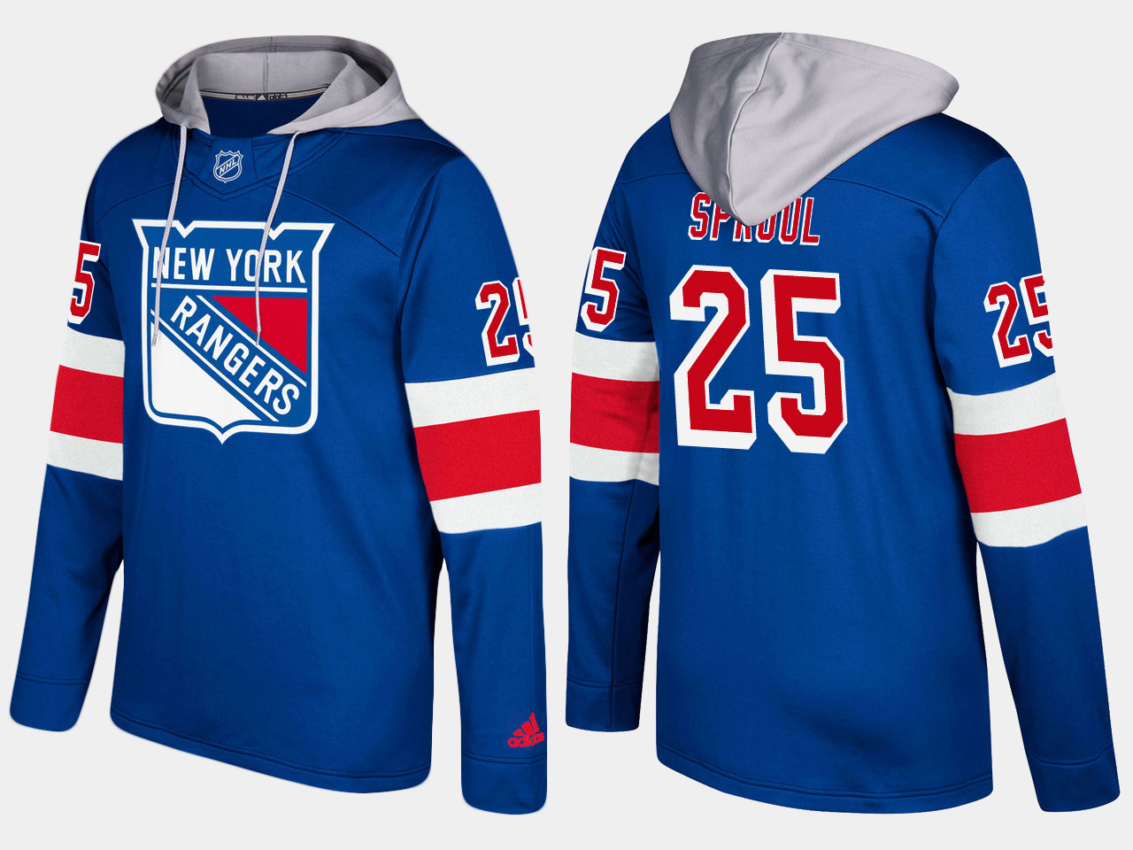 Men NHL New York rangers 25 ryan sproul blue hoodie