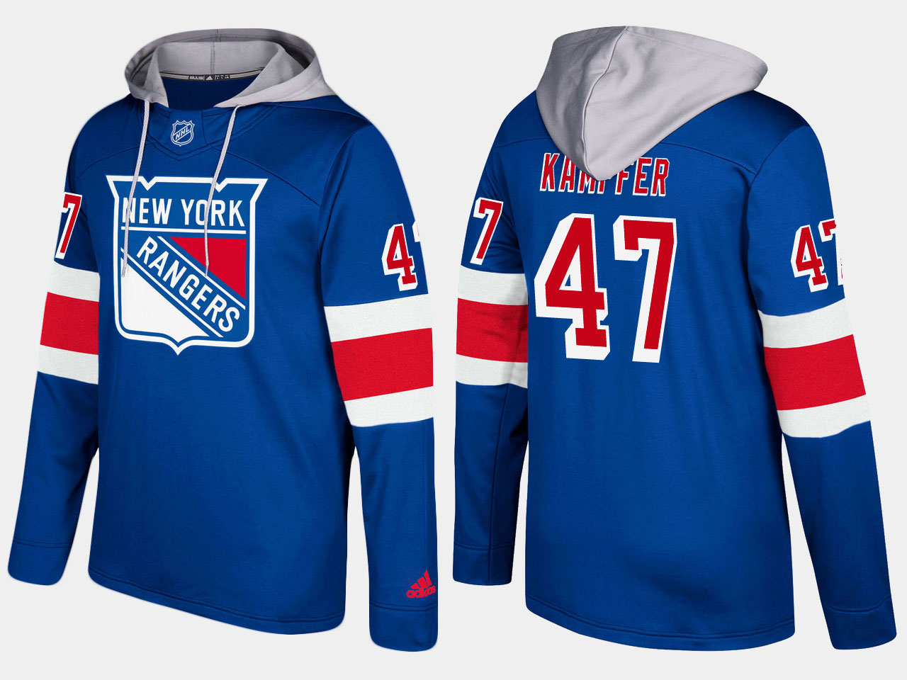 Men NHL New York rangers 47 steven kampfer blue hoodie