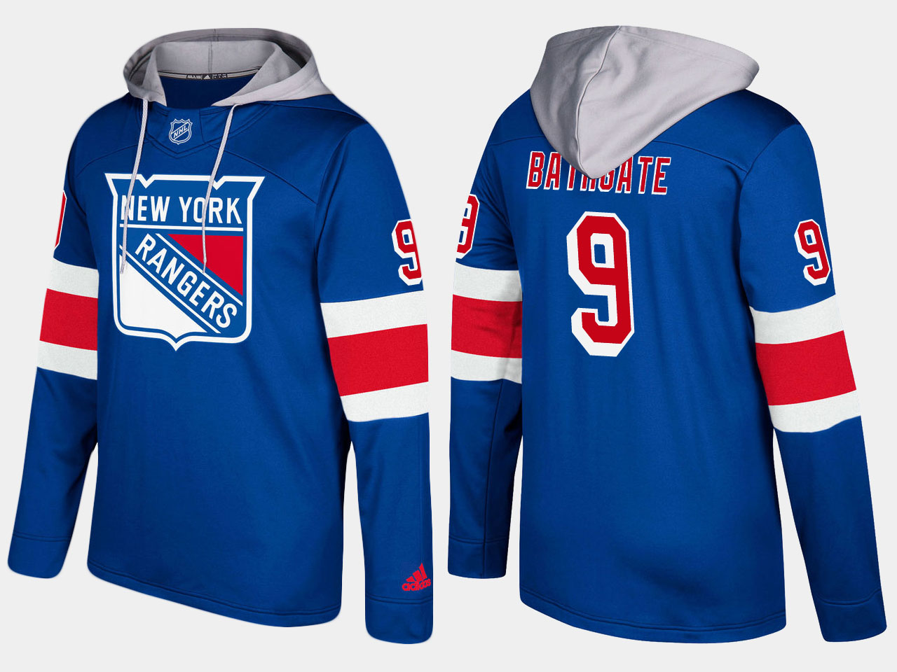 Men NHL New York rangers 9 retired andy bathgate blue hoodie