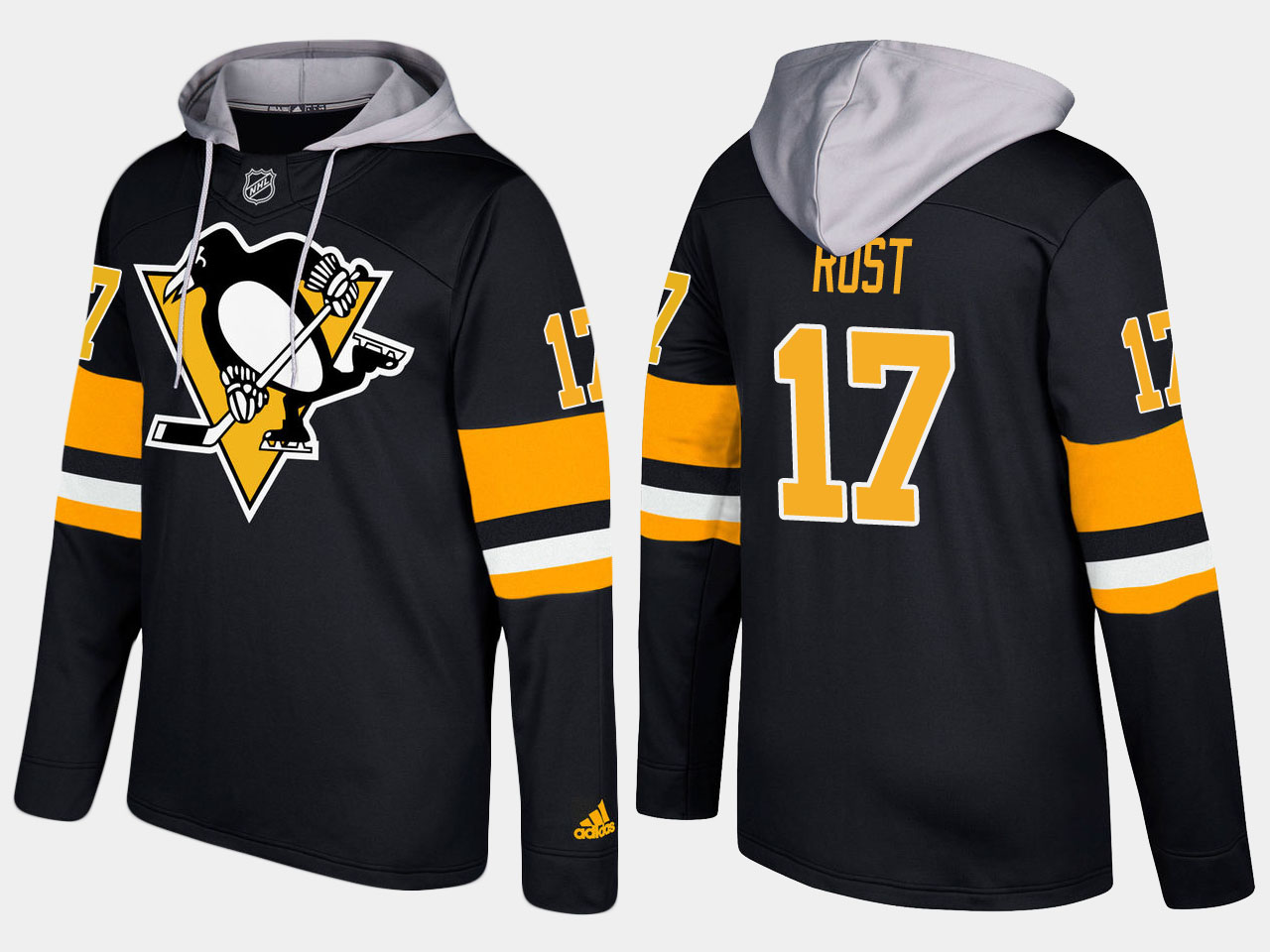 Men NHL Pittsburgh penguins 17 bryan rust black hoodie