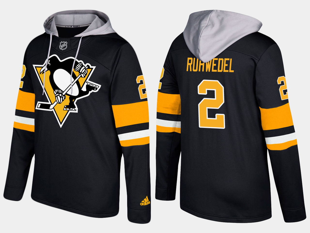 Men NHL Pittsburgh penguins 2 chad ruhwedel black hoodie