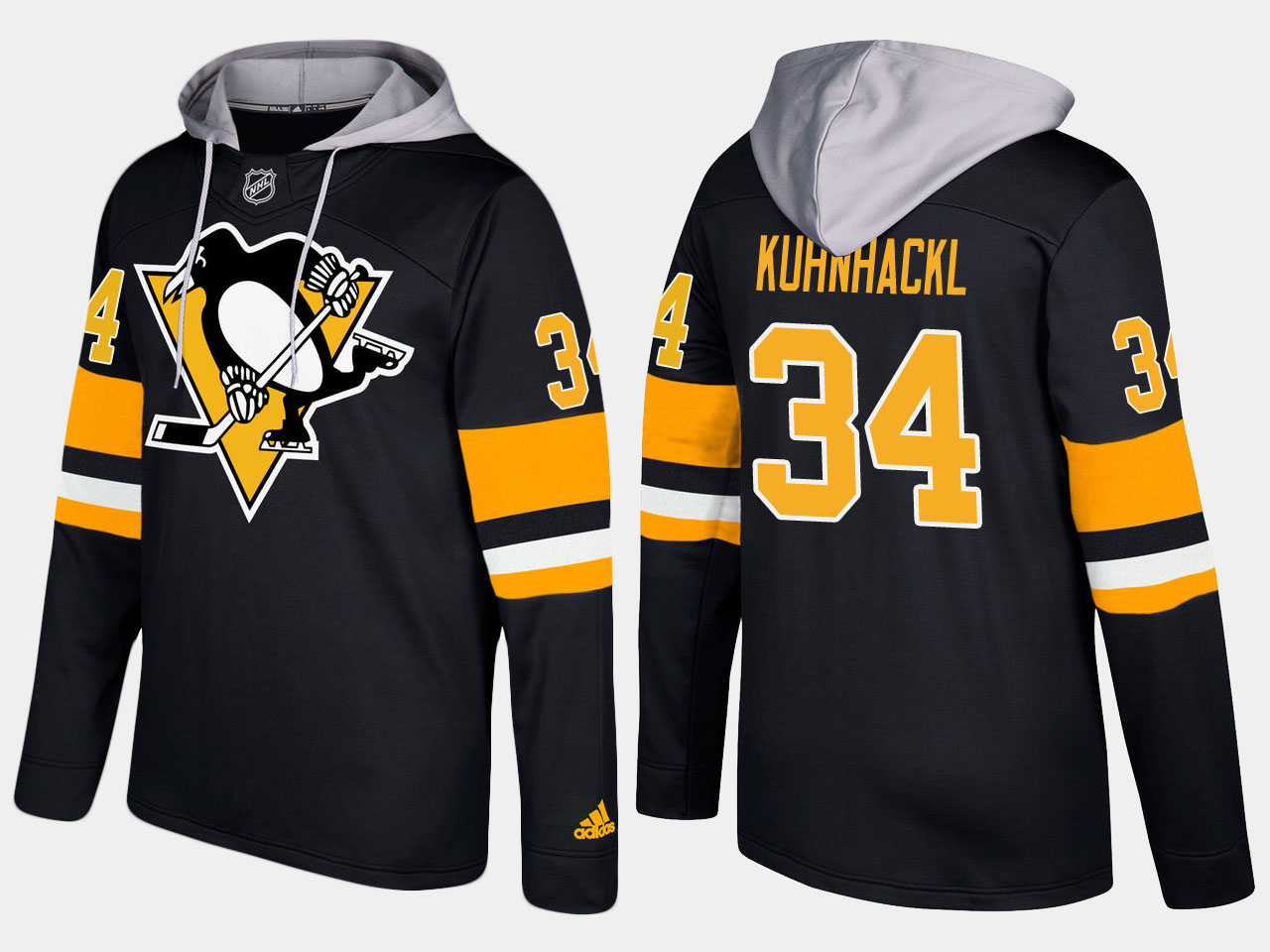 Men NHL Pittsburgh penguins 34 tom kuhnhackl black hoodie