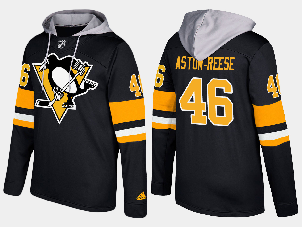 Men NHL Pittsburgh penguins 46 zach aston reese black hoodie
