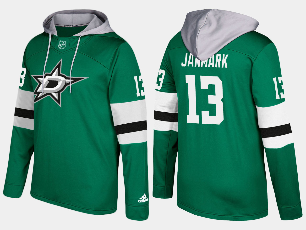Men NHL dallas stars 13 mattias janmark green hoodie