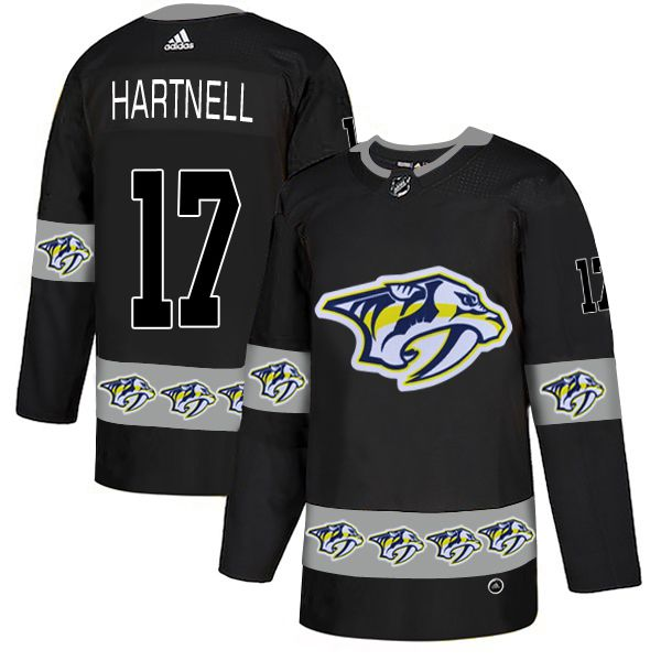 Men Nashville Predators 17 Hartnell Black Adidas Fashion NHL Jersey
