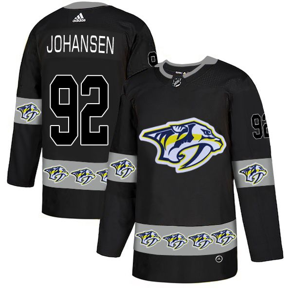Men Nashville Predators 92 Johansen Black Adidas Fashion NHL Jersey