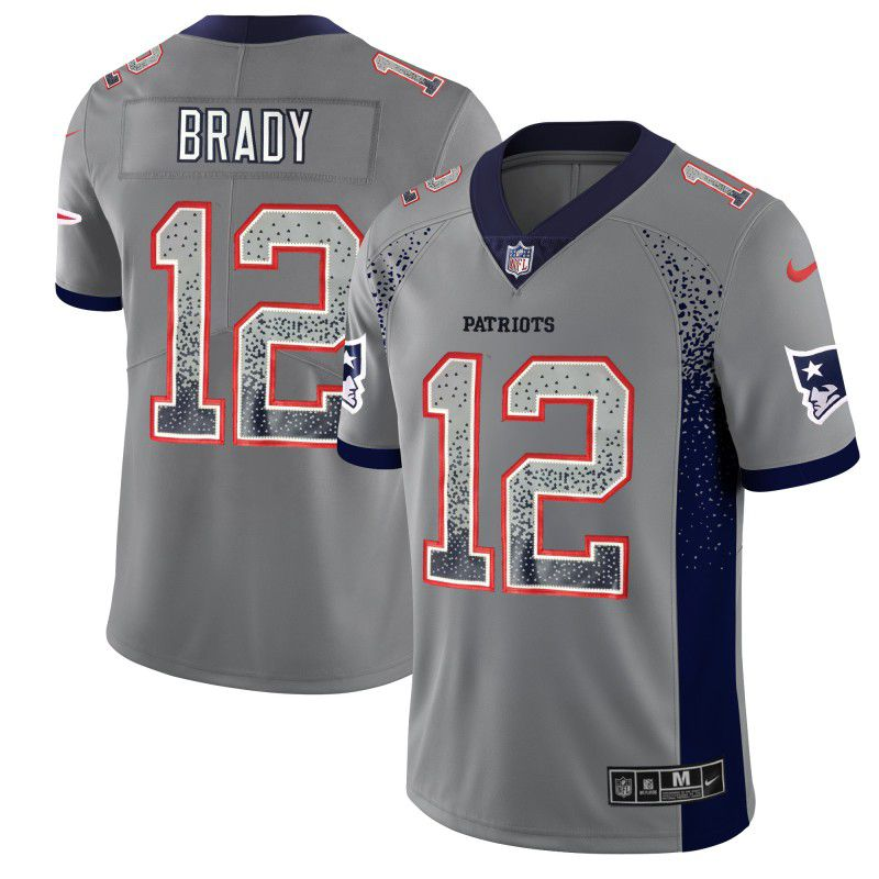 Men New England Patriots 12 Brady Grey Nike Drift Fashion Color Rush Limited NFL Jerseys