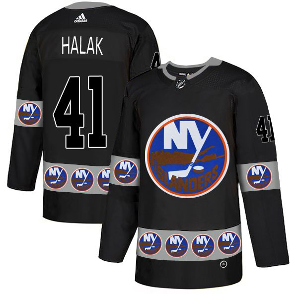 Men New York Islanders 41 Halak Black Adidas Fashion NHL Jersey