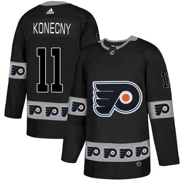 Men Philadelphia Flyers 11 Konecny Black Adidas Fashion NHL Jersey