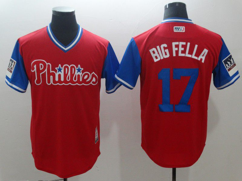 Men Philadelphia Philles 17 Big fella Red New Rush Limited MLB Jerseys