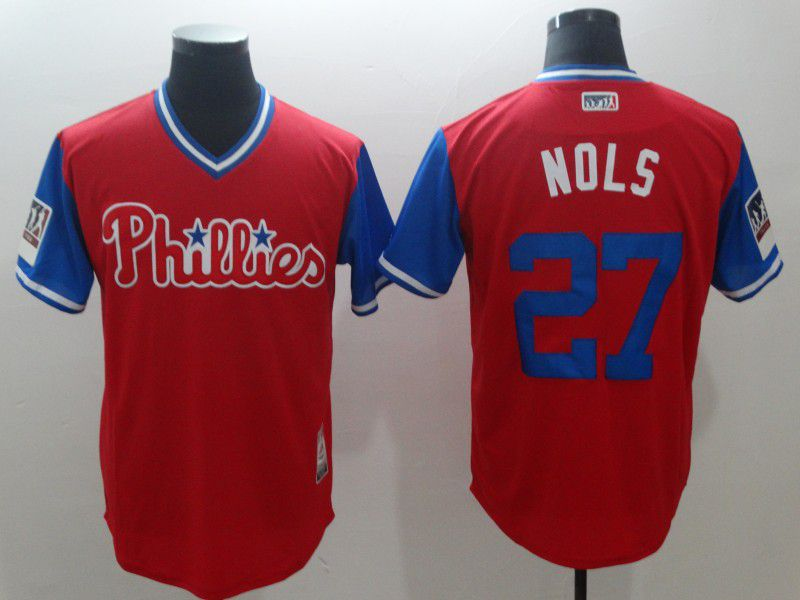 Men Philadelphia Philles 27 Nols Red New Rush Limited MLB Jerseys