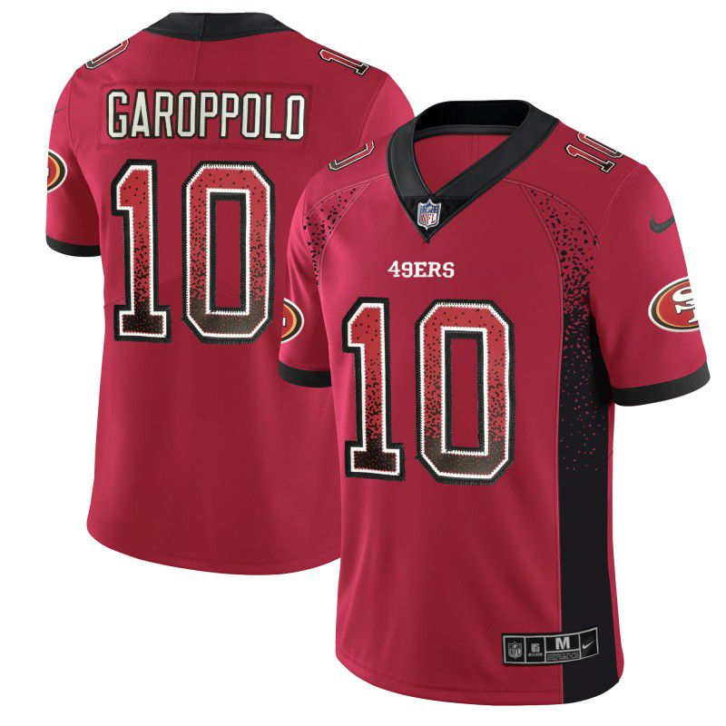 6f911f138 Men San Francisco 49ers 10 Garoppolo Red Drift Fashion Color Rush Limited NFL  Jerseys