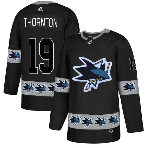 Men San Jose Sharks 19 Thornton Black Adidas Fashion NHL Jersey