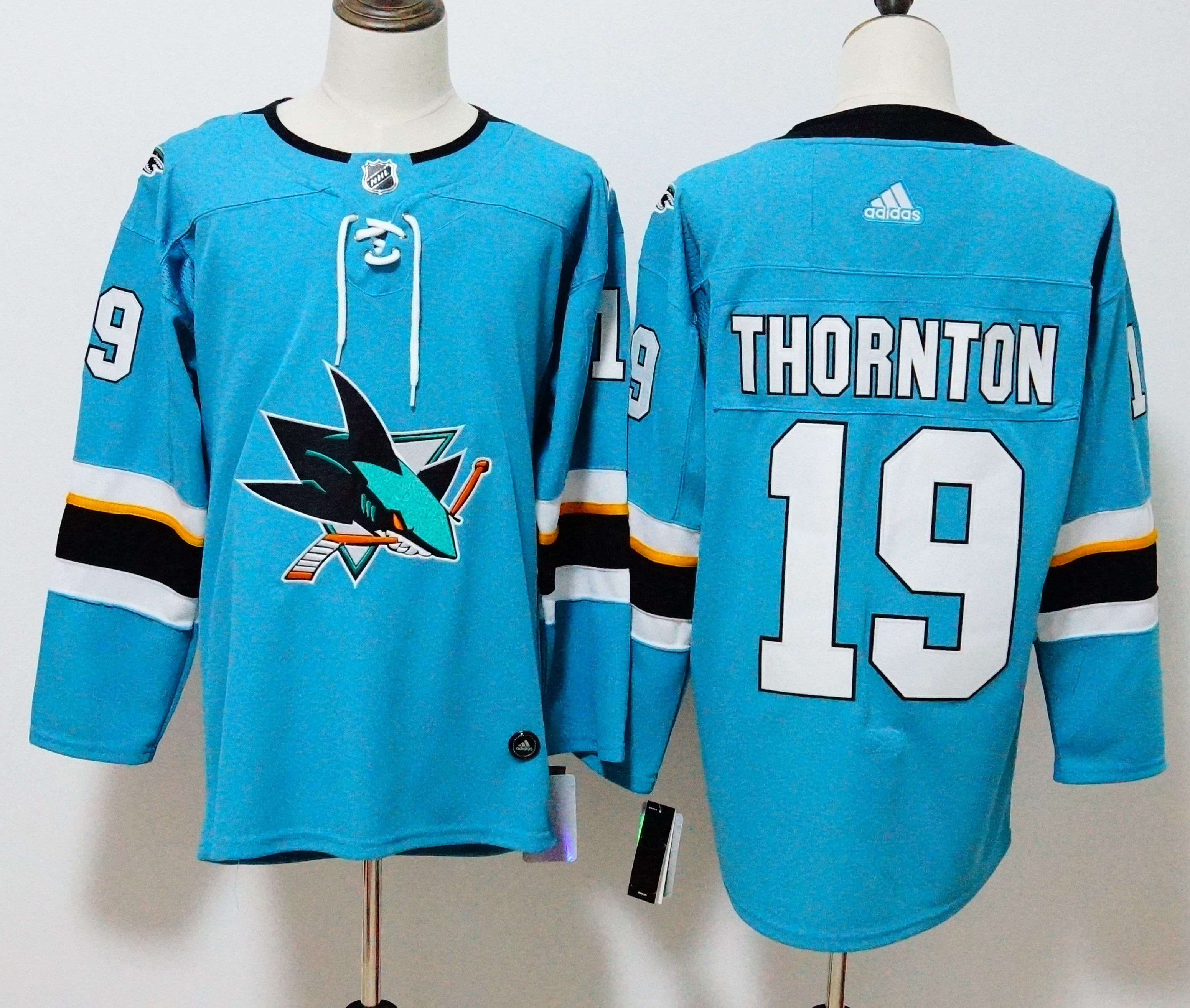 Men San Jose Sharks 19 Thornton Blue Hockey Stitched Adidas NHL Jerseys