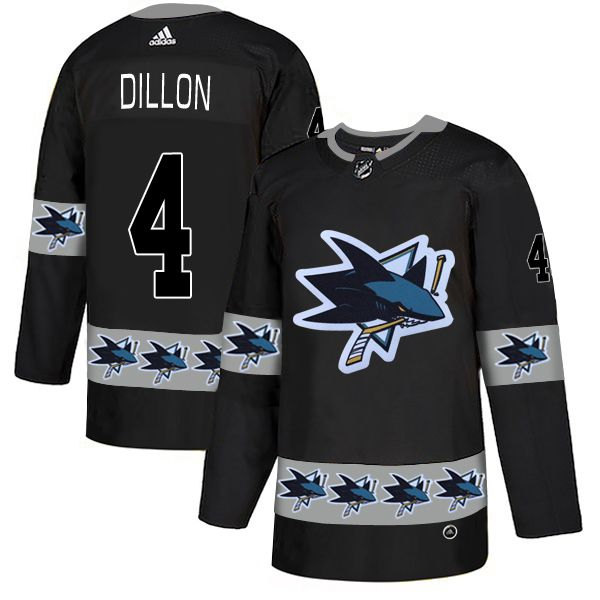 Men San Jose Sharks 4 Dillon Black Adidas Fashion NHL Jersey