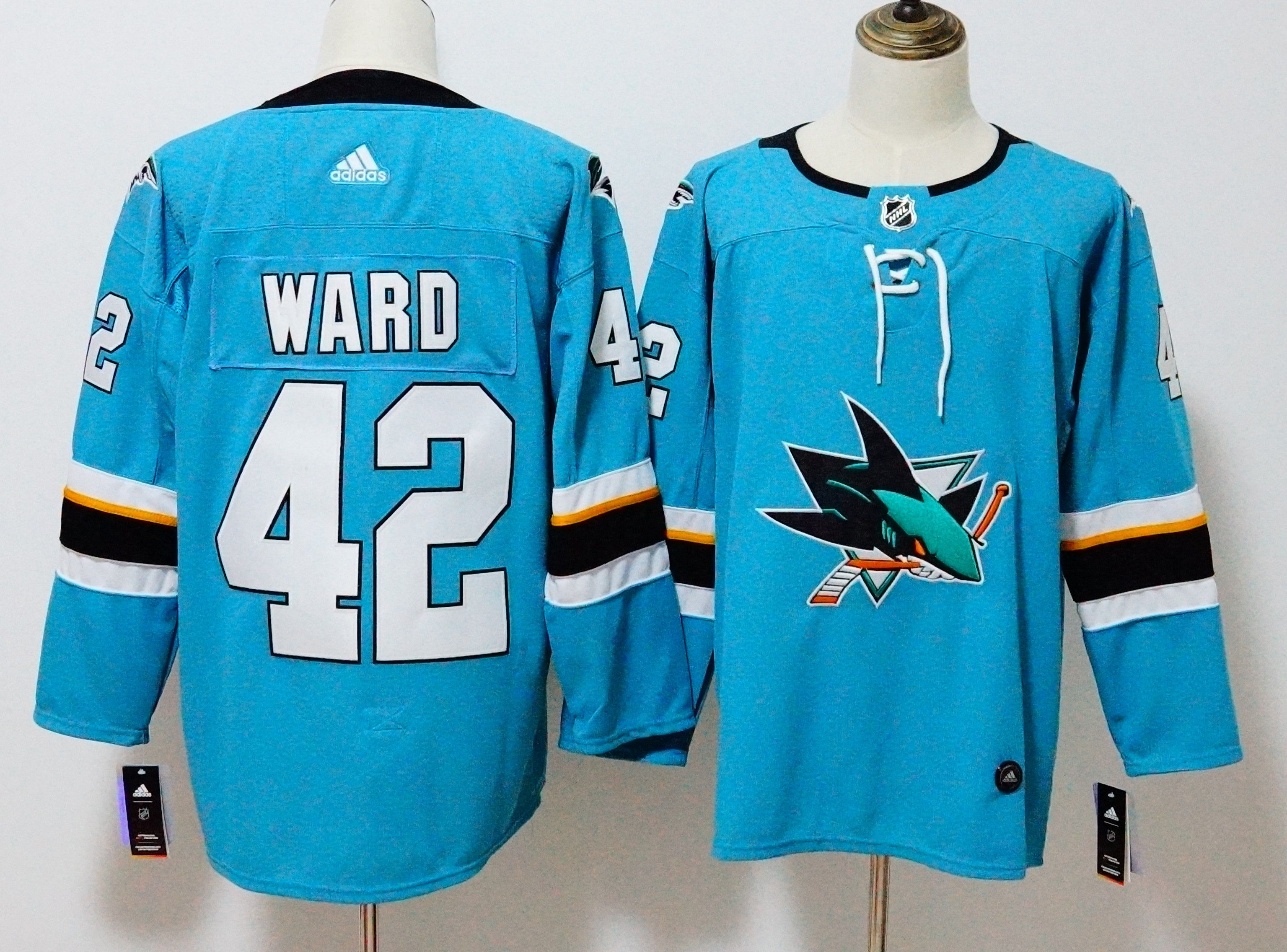 Men San Jose Sharks 42 Ward Blue Hockey Stitched Adidas NHL Jerseys
