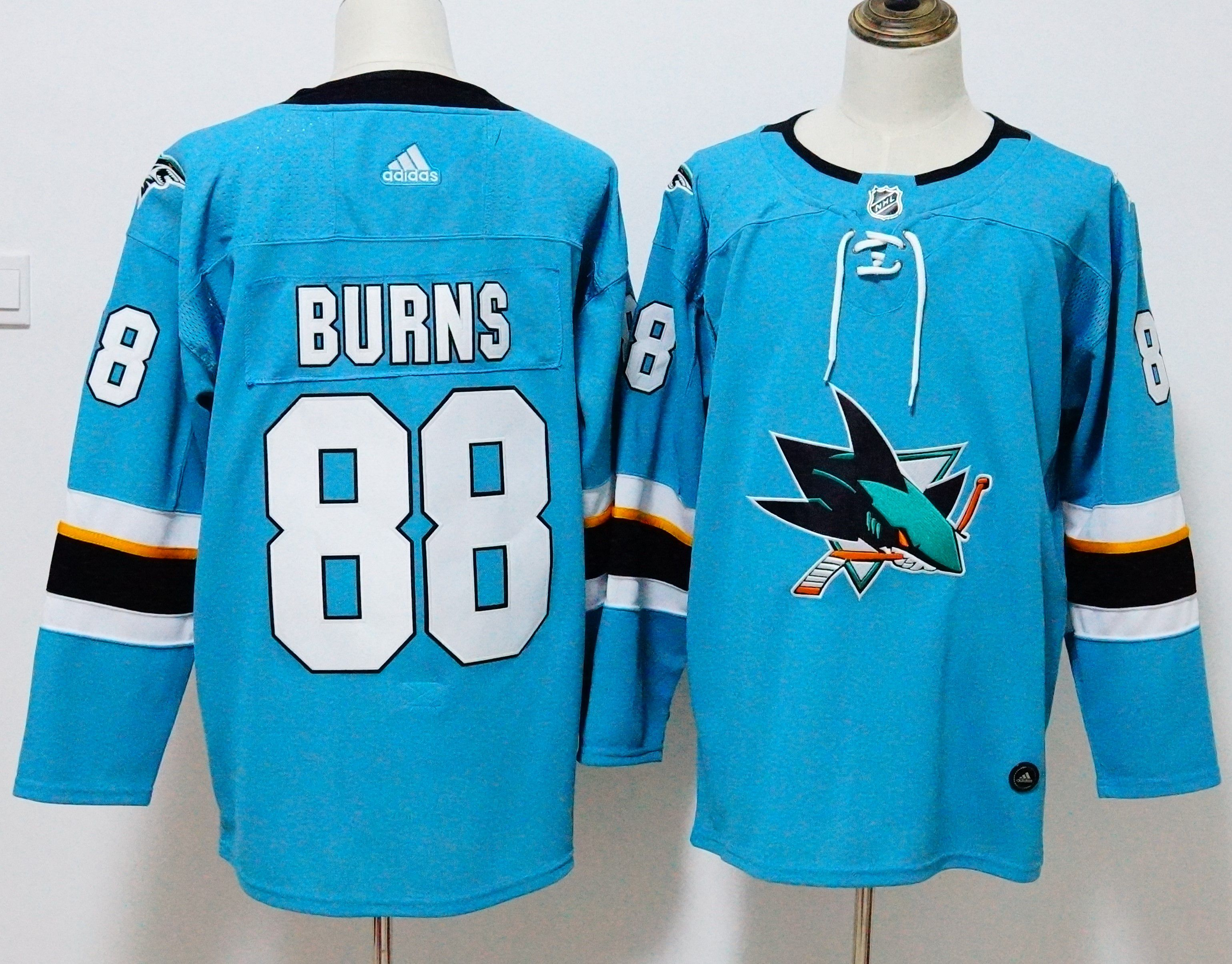 Men San Jose Sharks 88 Burns Blue Hockey Stitched Adidas NHL Jerseys